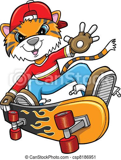 safari tiger skateboarder vector art illustration vector clip art rh canstockphoto com baby safari clipart free free safari clipart images