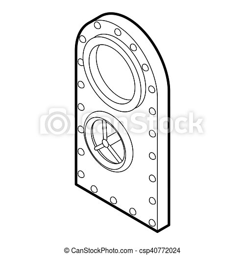 Safe Door Icon Outline Style Safe Door Icon Outline Illustration
