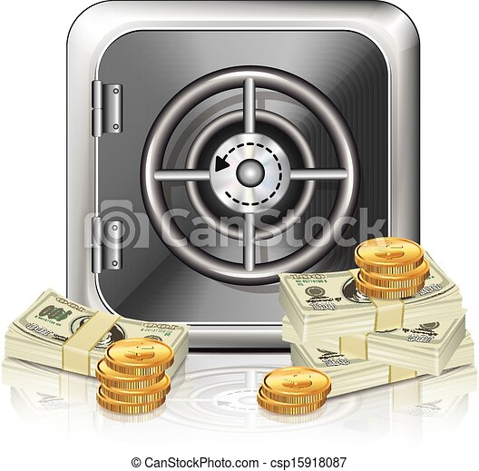 Safe Icon With Money  - csp15918087