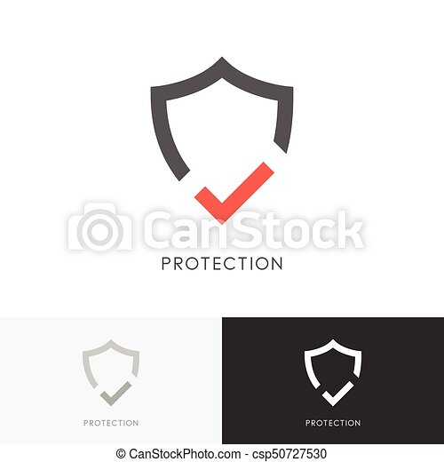 Safe Protection Logo Shield And Red Check Mark Or Tick Symbol