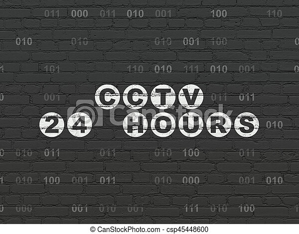 Safety concept: CCTV 24 hours on wall background - csp45448600