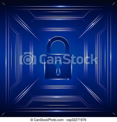Safety concept: Closed Padlock on digital background - csp32271976