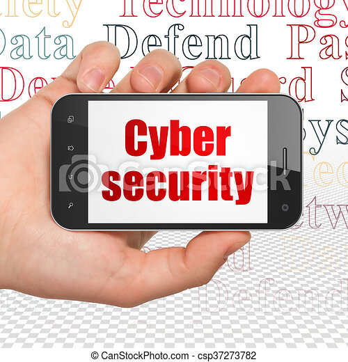 Safety concept: Hand Holding Smartphone with Cyber Security on display - csp37273782