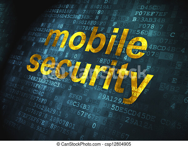 Safety concept: Mobile Security on digital background - csp12804905