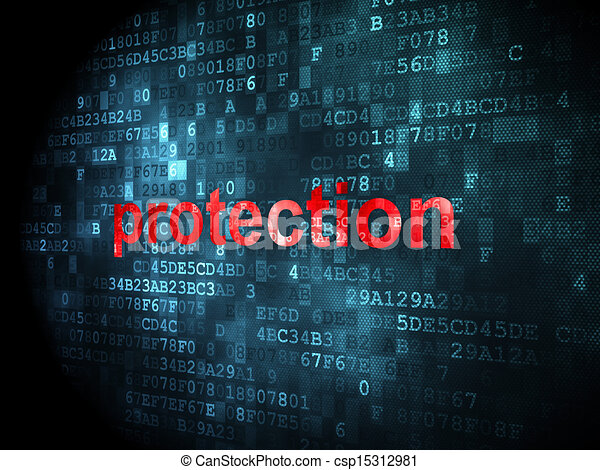 Safety concept: Protection on digital background - csp15312981