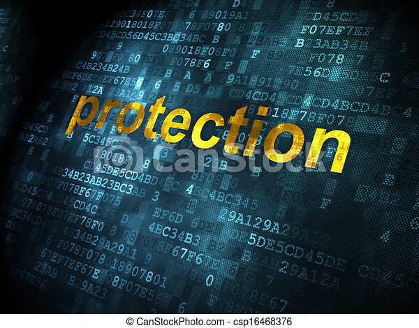 Safety concept: Protection on digital background - csp16468376