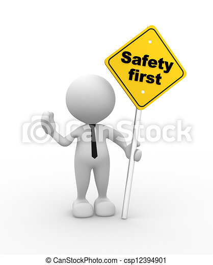 3d people man person with a quotsafety firstquot sign in hand