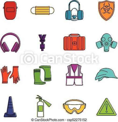 safety icons doodle set safety icons set doodle illustration of