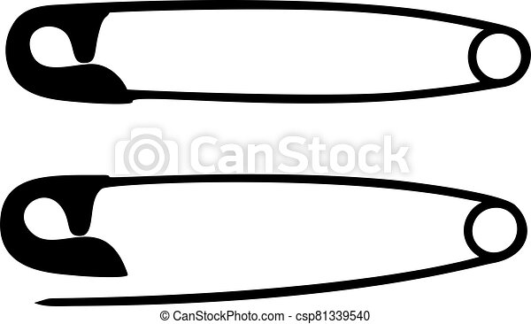 Safety pins vector on white background - csp81339540