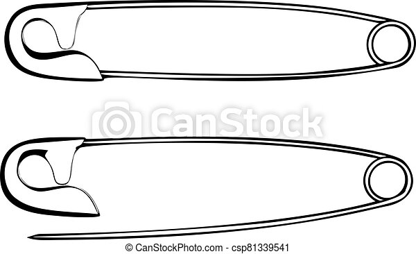 Safety pins vector on white background - csp81339541