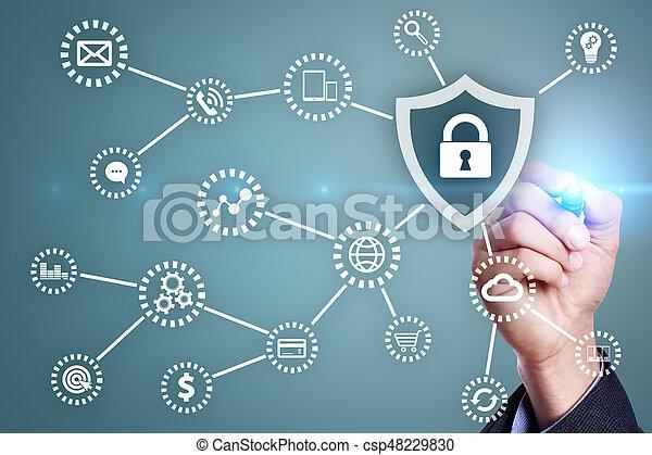 Seguridad cibernética, protección de datos, seguridad de información. El concepto de tecnología de Internet - csp48229830