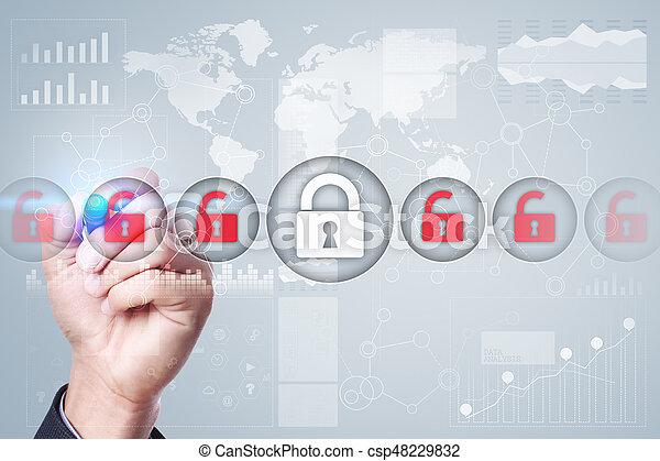Seguridad cibernética, protección de datos, seguridad de información. El concepto de tecnología de Internet - csp48229832