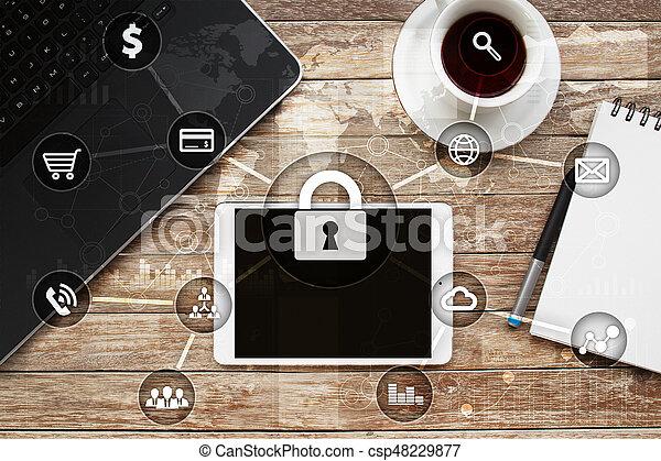 Seguridad cibernética, protección de datos, seguridad de información. El concepto de tecnología de Internet - csp48229877