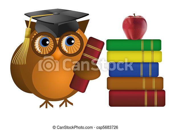 sage, livres, vieux, hibou - csp5683726