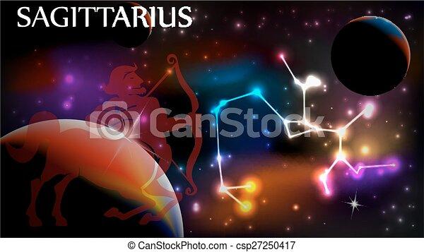 Sagittarius Astrological Sign and copy space - csp27250417