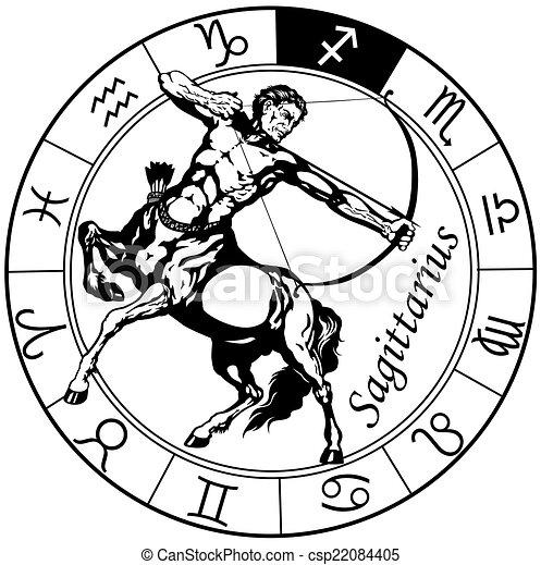 sagittarius zodiac black white - csp22084405