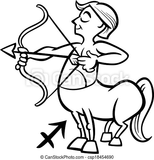 sagittarius zodiac sign cartoon - csp18454690