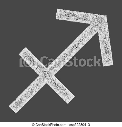 Sagittarius zodiac sign line art - csp32280413