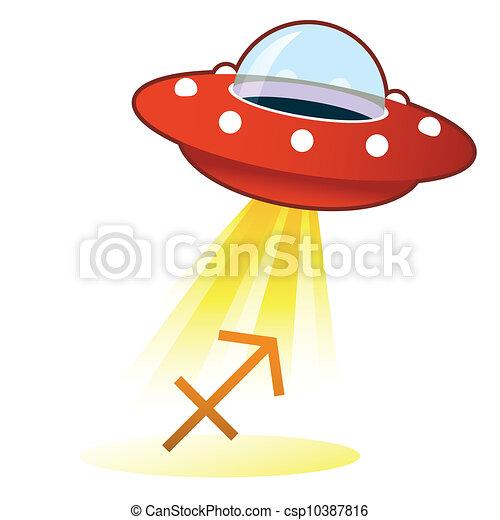 Sagittarius zodiac UFO button - csp10387816