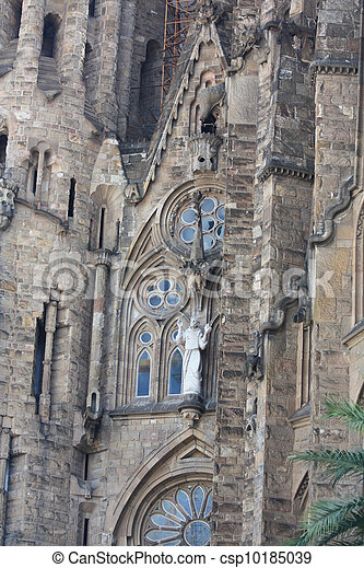 Sagrada Familia Barcelona, detail of facade - csp10185039