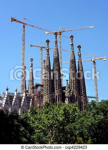 Sagrada familia church in Barcelona, Spain - csp4229423