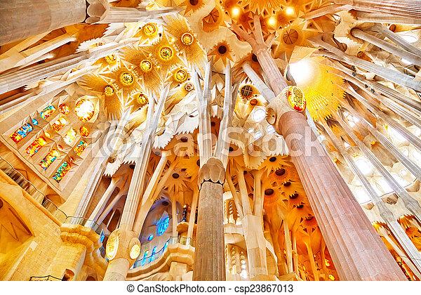 Sagrada Familia,beautiful and majestic  interior view. - csp23867013