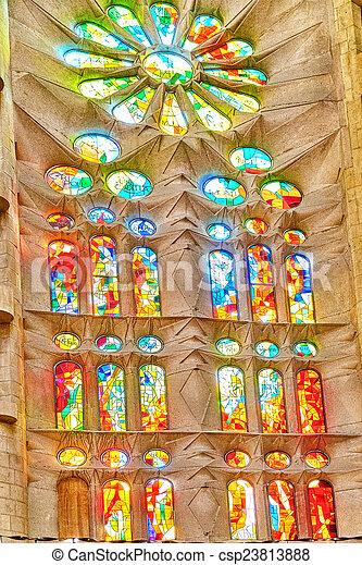 Sagrada Familia,beautiful and majestic  interior view. - csp23813888