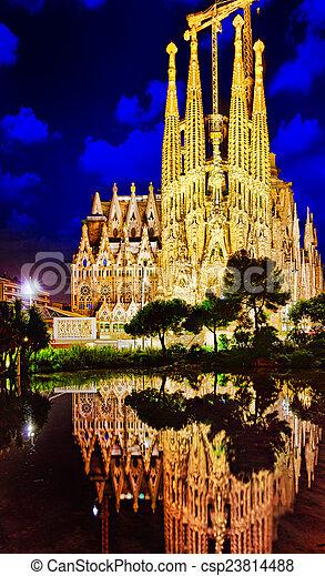 Sagrada Familia,beautiful and majestic  outdoor  view  Barcelona. - csp23814488