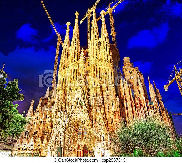 Sagrada Familia,beautiful and majestic  outdoor  view  Barcelona. - csp23870151