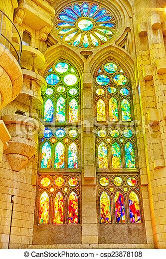 Sagrada Familia,beautiful and majestic  interior view. - csp23878108