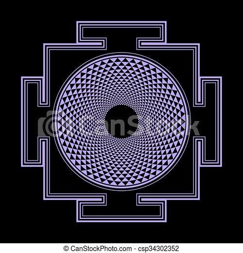 sahasrara, illustration, monocrome, contour, yantra - csp34302352