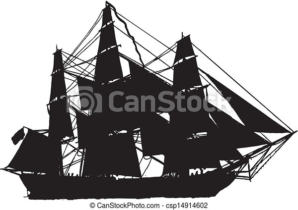 sail boat in silhouette - csp14914602