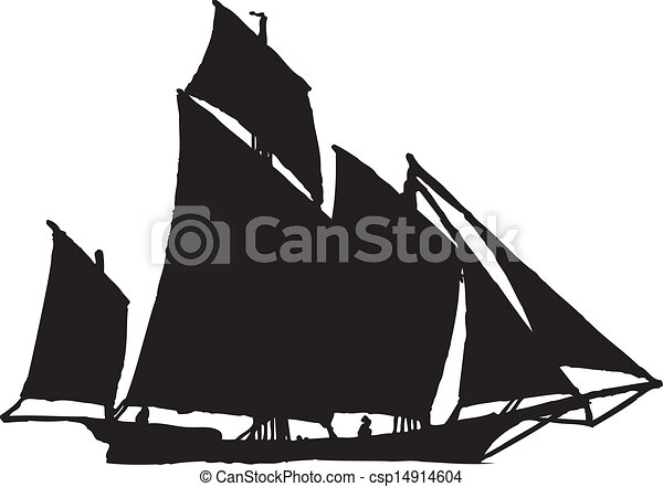 sail boat in silhouette - csp14914604