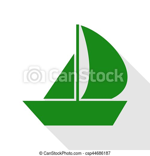 Sail Boat sign. Green icon with flat style shadow path. - csp44686187