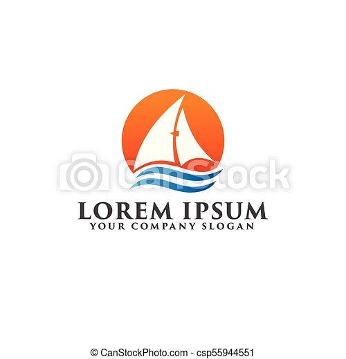 sail boat summer logo design concept template