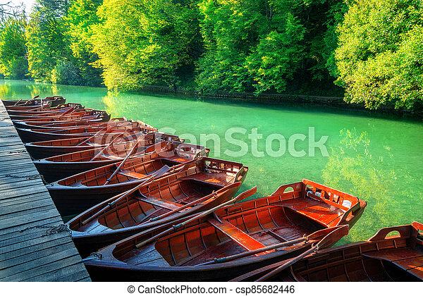 Sail boats parking in Plitvice Lakes Croatia. - csp85682446