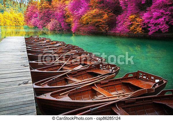Sail boats parking in Plitvice Lakes Croatia. - csp86285124