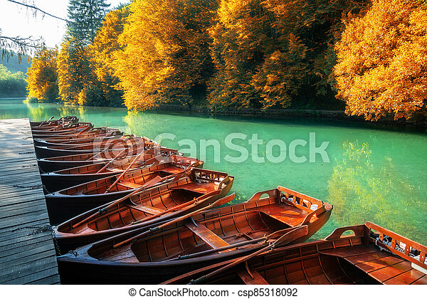 Sail boats parking in Plitvice Lakes Croatia. - csp85318092