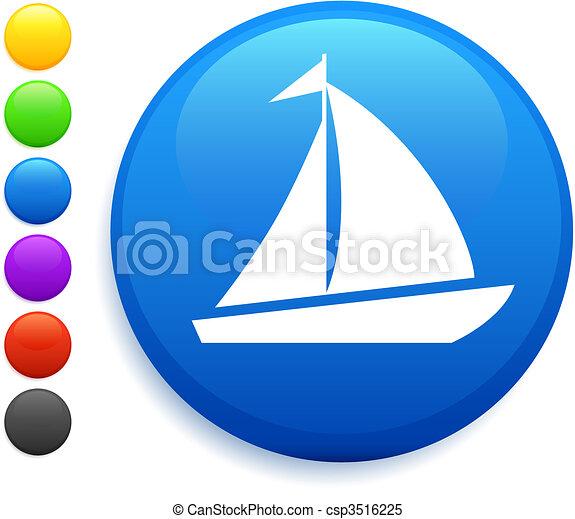 sail icon on round internet button - csp3516225