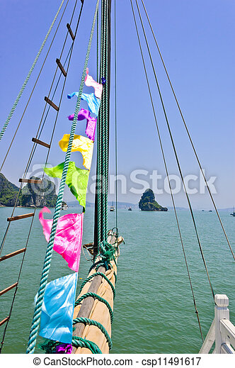 Sail rolled-up and cables - csp11491617