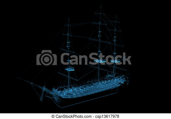 Sailboat 3D rendered xray blue transparent - csp13617978
