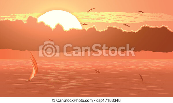 Sailboat against orange sunset. - csp17183348