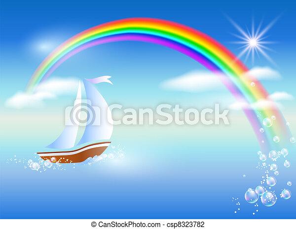 Sailboat and rainbow - csp8323782