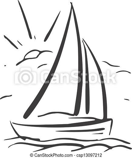 Segelboot zeichnung  Sailboat., eps8, hand, vektor, hintergrund, gezeichnet Vektor ...