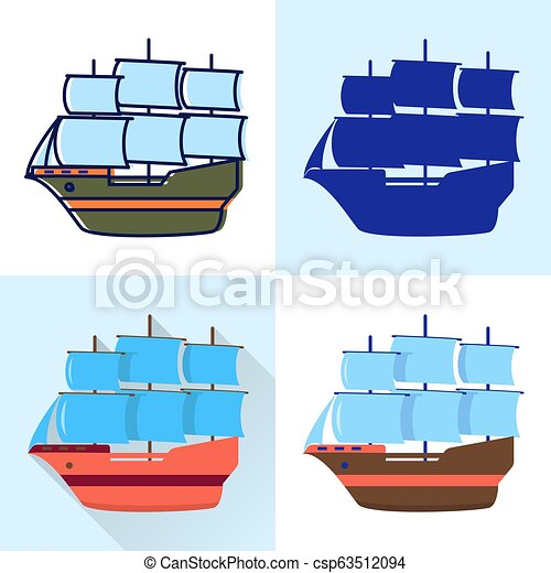 Sailboat icon set in flat and line styles