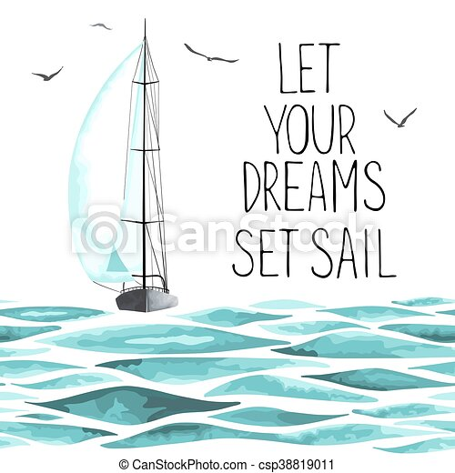 Sailboat in the sea and seagulls around. - csp38819011