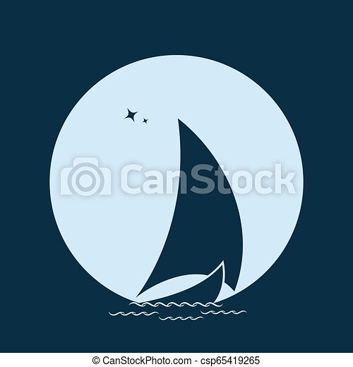 Sailboat in the sea on the waves against the backdrop of the moon. - csp65419265