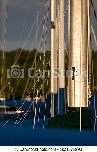 Sailboat masts in a row - csp1572990