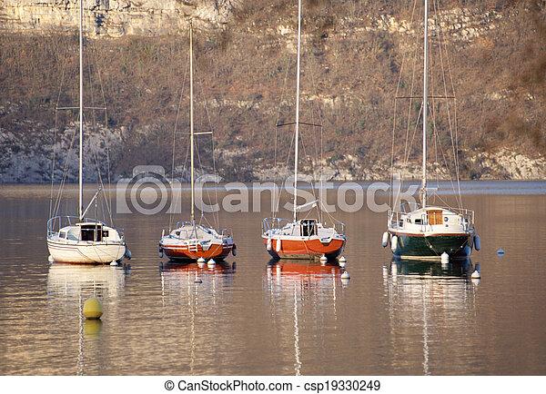 Sailboat on Annecy lake, Savoy, France - csp19330249