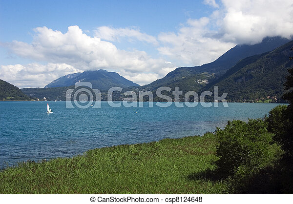 Sailboat on lake Annecy - csp8124648